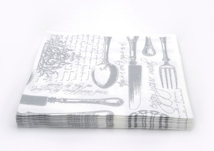 SimuLinen Gallery Vintage White and Silver Dinner Napkin