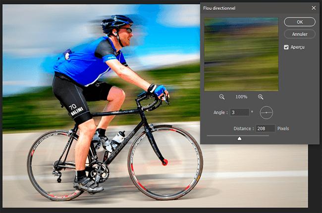 flou directionnel photo cycliste