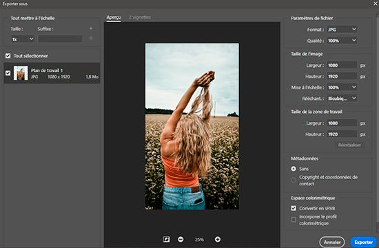 exporter photo fond d'écran photoshop