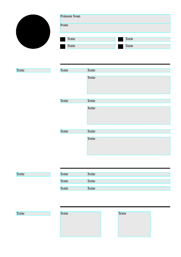 modèle cv indesign blocs