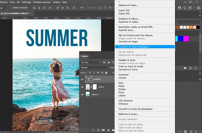 convertir texte en objet dynamique photoshop