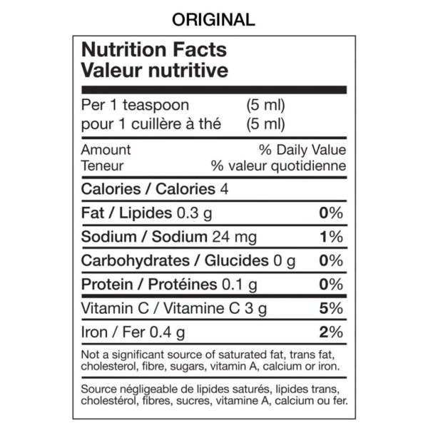Nutritional Table Original Hot Sauce