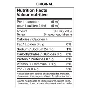 Table nutritionnelle sauce piquante originale