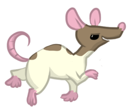A DRAWING of a rat who does kinda look evil...