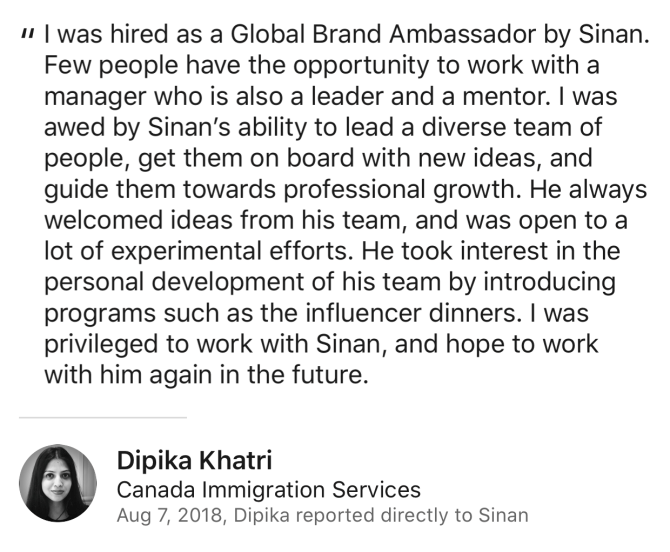 Dipika Khatri Review for Sinan Ata