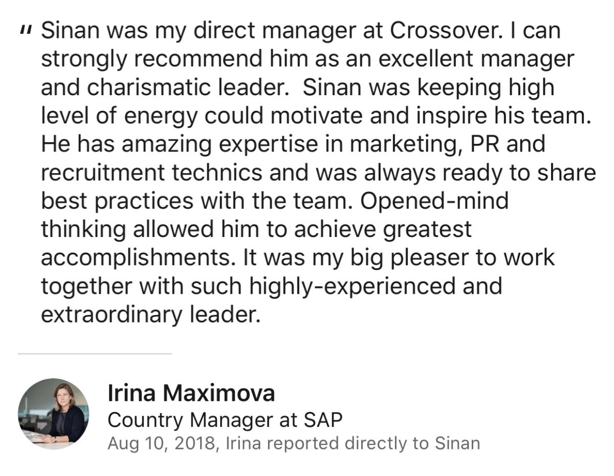 Irina Maximova Review for Sinan Ata