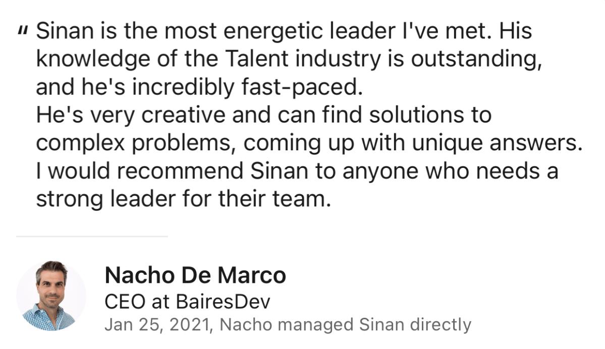 Nacho de Marco Review for Sinan Ata