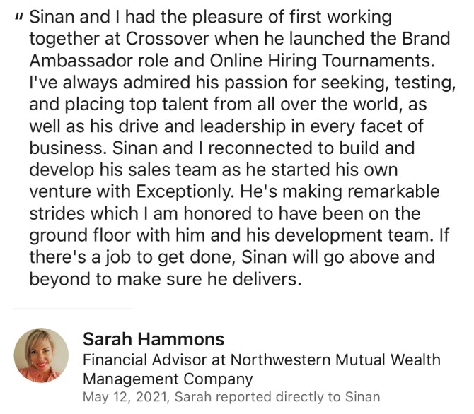 Sarah Hammons Review for Sinan Ata