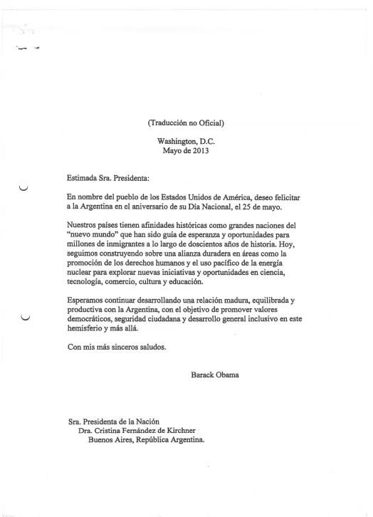 Carta de Barack Obama a Cristina Kirchner