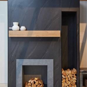HardStop fireplace 5015 Black Painted Marble 9312-NG Planked Urban Oak mantle