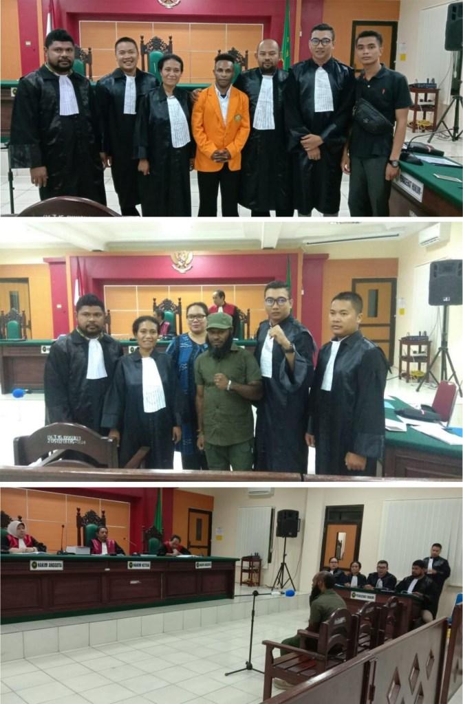 Foto: Tim Kuasa Hukum Advokasi Papua bersama Tapol Papua di PN Jakarta Pusat. (Ist)