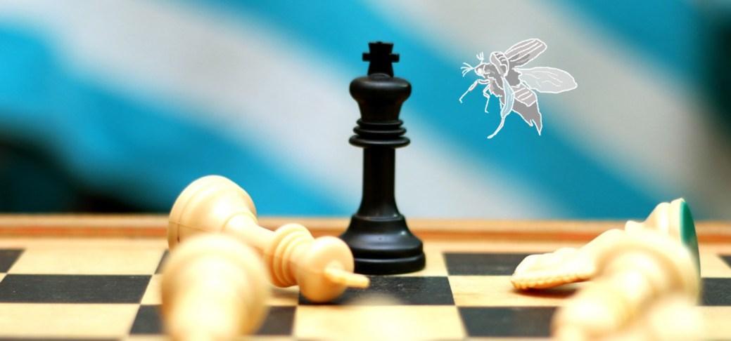 Ein gezeichneter Maikäfer landet auf einem Schachbrett.