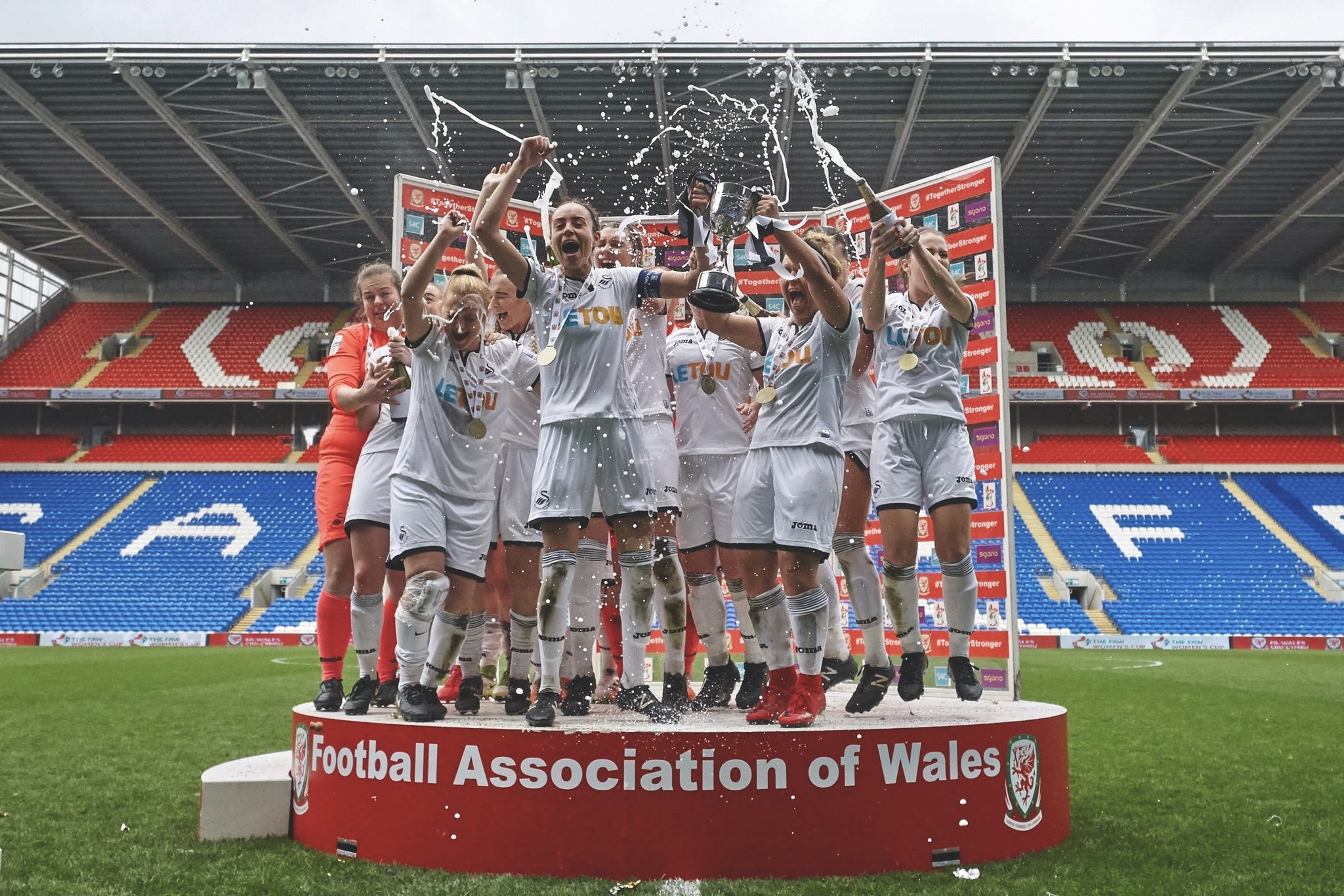 Swansea City celebrating a cup win