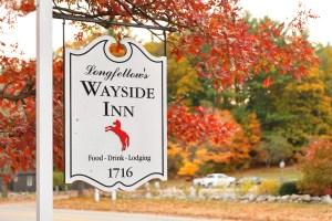 The sign of Longfellow's Wayside Inn at autumn, Sudbury Massachusetts