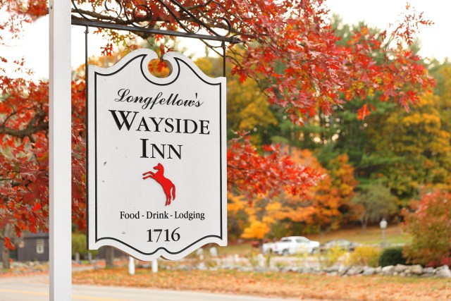 The sign of Longfellow's Wayside Inn at autumn, Sudbury Massachusetts