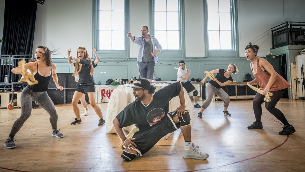Neil McDermott and the company of The Wind in the Willows in rehearsals