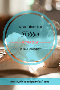 Steaming cup with an opened book and flower with text overlay: What if there is a hidden purpose in your struggle?