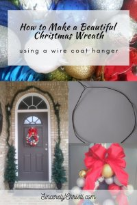 Christmas ornaments, Front door with wreath and garland, Wire coat hanger in a circle, and finished DIY Christmas Ball Wreath Project with text overlay, How to make a beautiful christmas wreath using a wire coat hanger