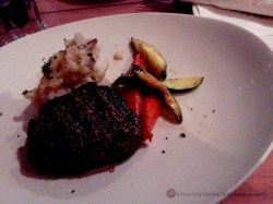 Fire-grilled Sirloin served with garlic mash and seasonal vegetables
