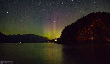 09.28.16. // The view of the aurora from Porteau Cove. Taken by Ivan Ngan.