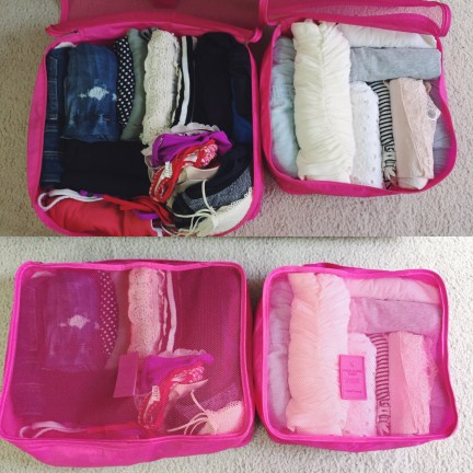 Left Cube: 6 pairs of shorts, 1 pair of jeans, 1 pair of leggings, 1 romper, 1 dress, 1 skirts, 2 swimsuit sets, 7 bras. Right Cube: 6 tanks, 4 tops, 1 half-sleeve, 1 long sleeve, 1 button-down shirt.