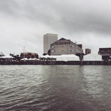 View of the hotel from the water. The white tents were being set up for the Wild Game Cook-off that happens every year.