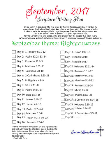 September 2017 Scripture Writing Plan
