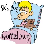 Sick Boy Worried Mom
