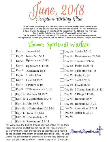 Scripture Writing Plan for June 2018