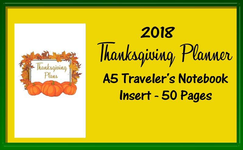 Thanksgiving Planner A5 Traveler's Notebook Insert -Printable