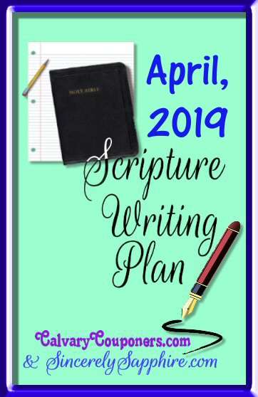 April, 2019 Scripture Writing Plan