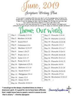 Download June 2019 scripture writing plan here