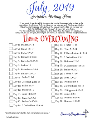 Scripture Writing Plan for July 2019