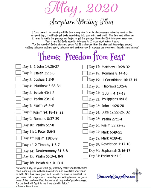 May 2020 Scripture Writing Plan click here