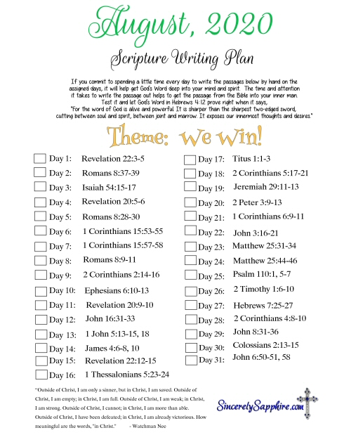 August 2020 scripture writing plan download here