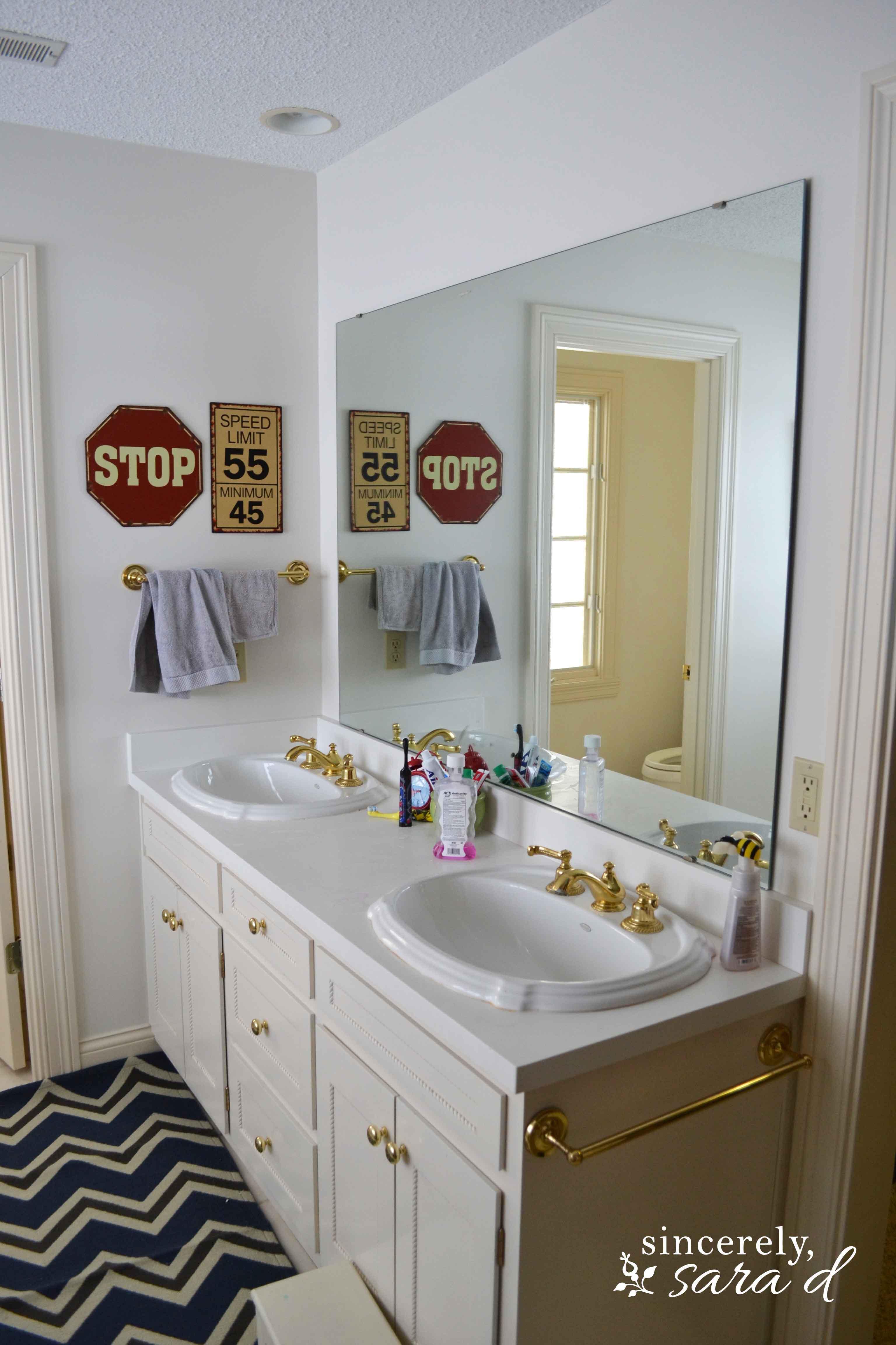 My Boys Bathroom Transformation  Sincerely Sara D