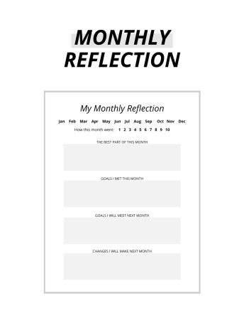free monthly reflection template