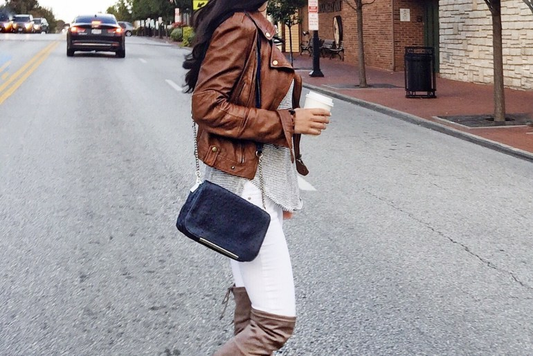 faux leather jacket, white denim, over-the-knee boots