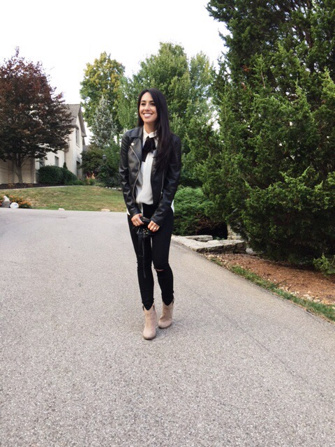 faux leather jacket, distressed denim cut-outs, ankle boots