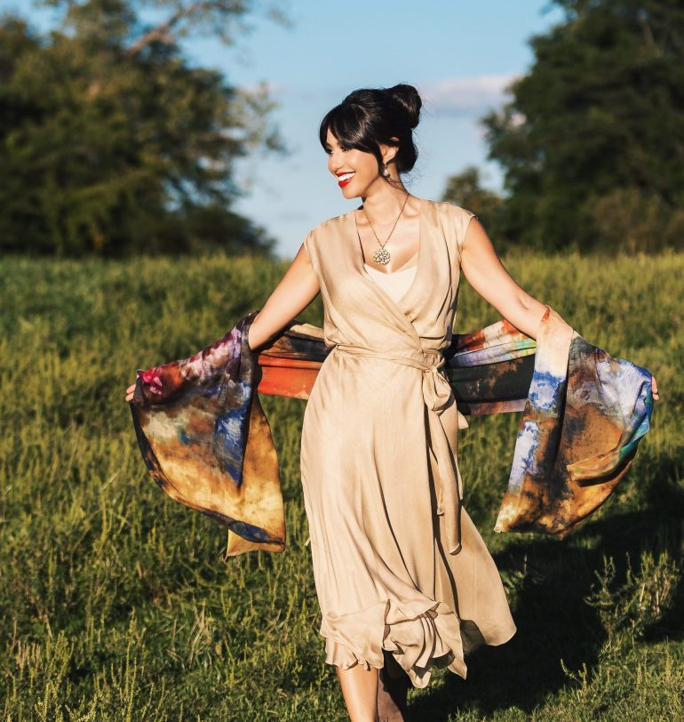 Gauze wrap dress in sand, cloud-print multi-colored cashmere and silk shawl