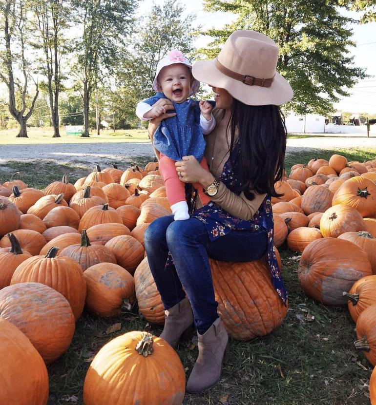 wardrobe essential ankle boots, pumpkin patch, floppy hat, mom and baby