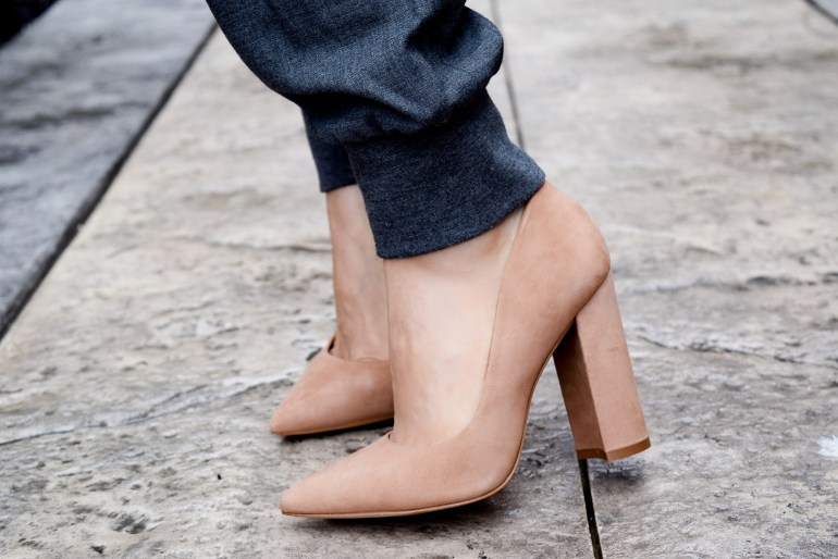 Suede block heels in nude