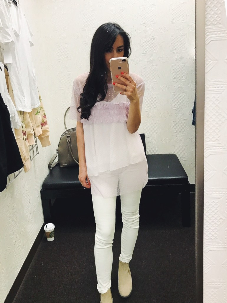 white denim jeans, sheer top with detail in lavender