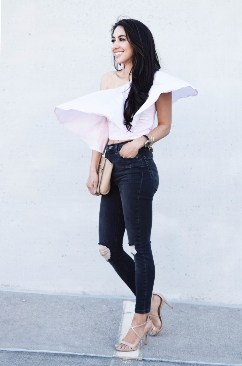 blogger babe one shoulder ruffle top
