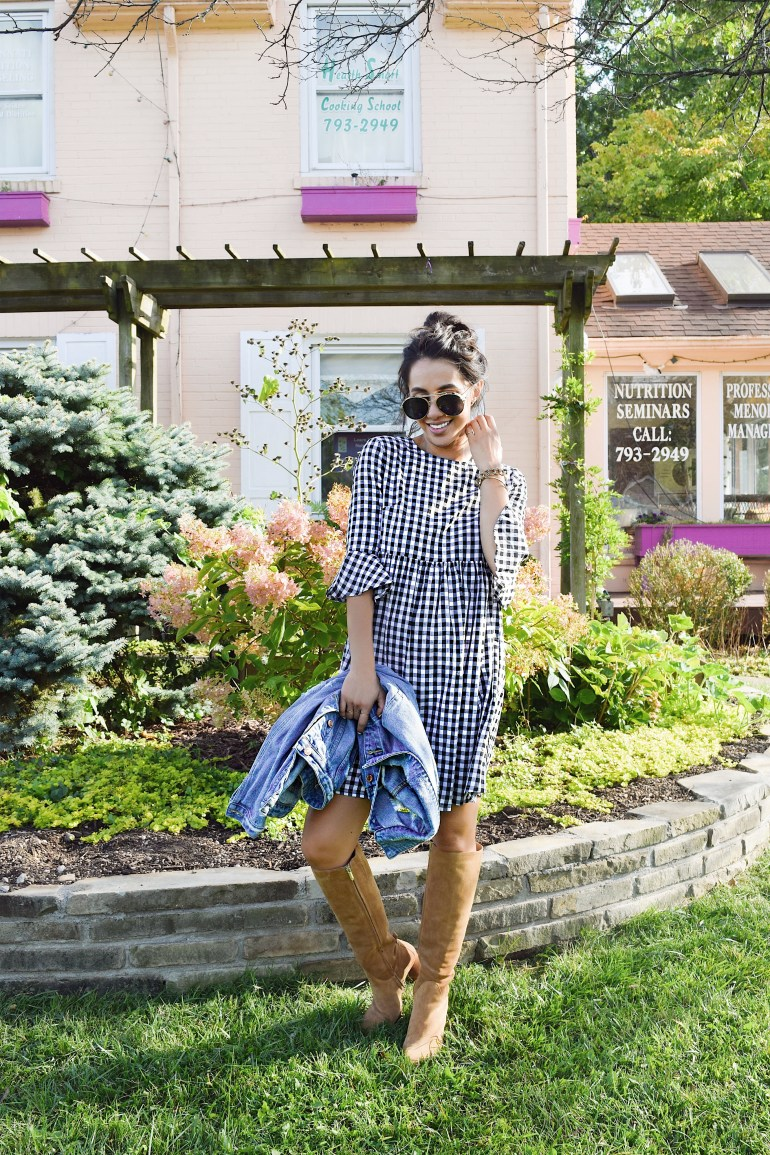 Fluted-sleeve-gingham-dress-shein-blogger-brittany-seiden-sincerely-styled