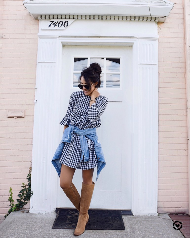 Sincerely Styled Brittany Seiden fshion blogger style denim jacket gingham dress