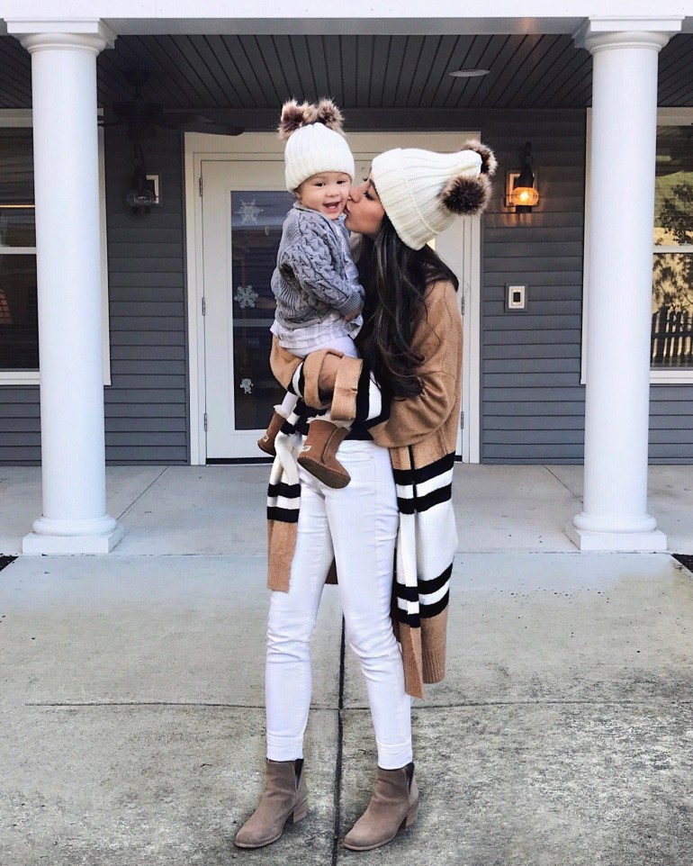 sincerely styled brittany seiden mom and baby mom blogger matching beanies winter style sweater cardigans