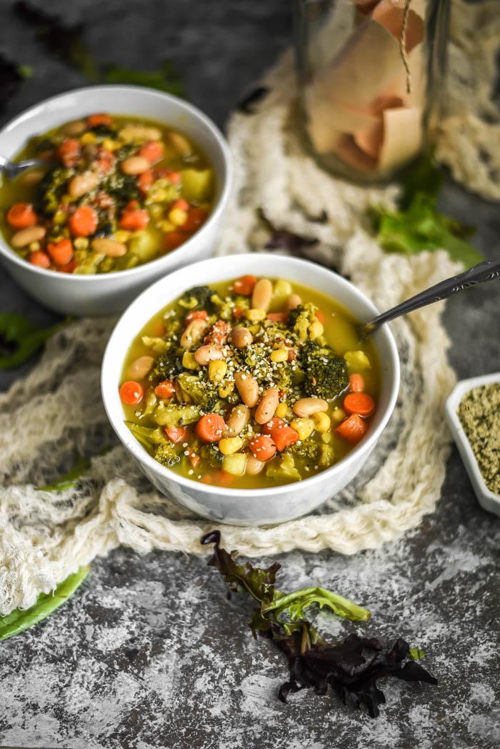 Easy White Bean & Veggie Soup (Vegan+GF)