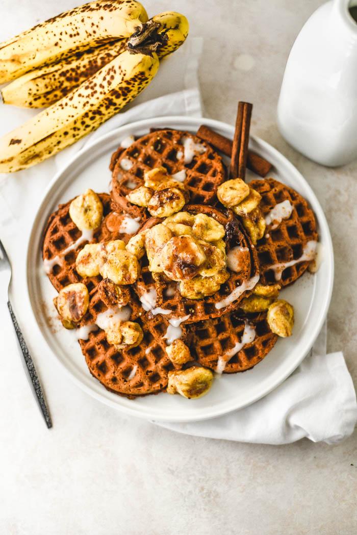 crispy banana waffles