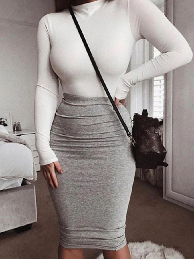 Heather Bodycon Fitted Midi Skirt 3